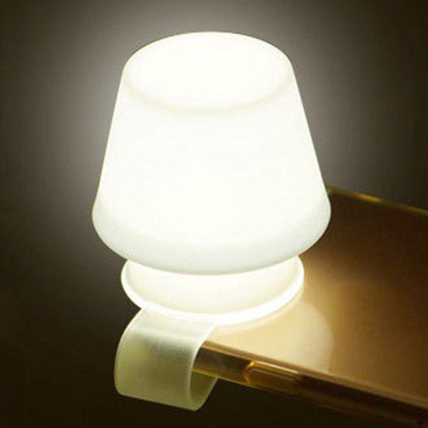 Creative Portable Flexible Silicone Mobile Phone Stents Lamp Night Light - WHITE