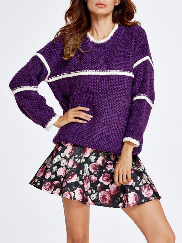 Chunky Sweater et Jupe Rose Set - Pourpre S