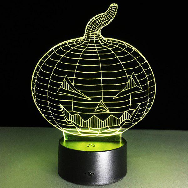 Halloween Festival 3D Pumpkin Shape Touch Colorful Night Light - TRANSPARENT