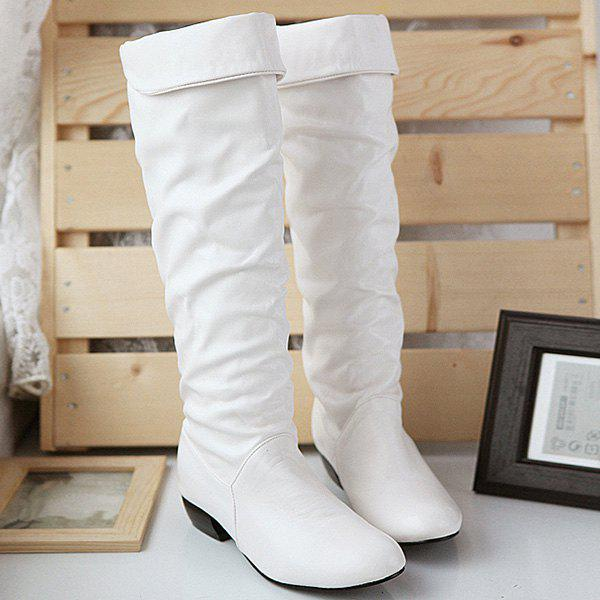 Fold Over Low Heel Ruched Knee High Boots - WHITE 38