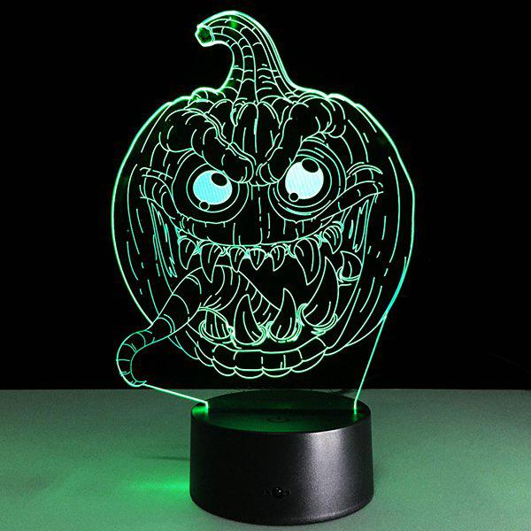 Halloween Festival 3D Funny Pumpkin Shape Touch Colorful Night Light - TRANSPARENT