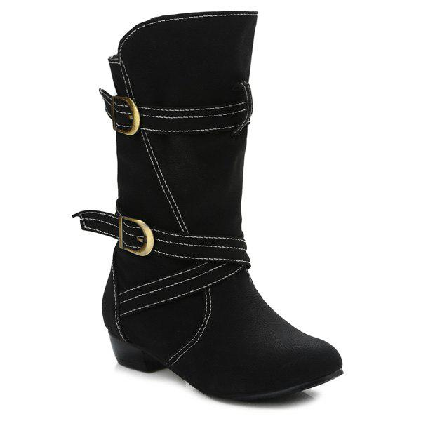 Buckle Straps Stitching PU Leather Mid-Heel Boot - BLACK 38