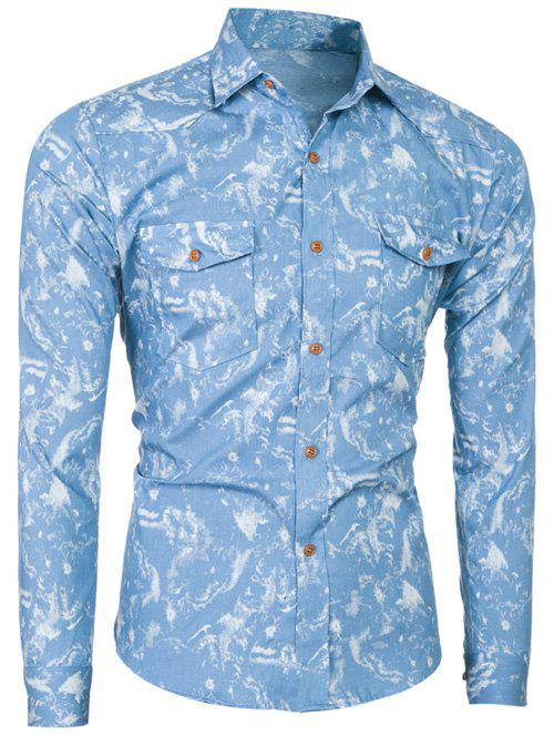 Botton Pocket Long Sleeve Tie-Dyed Shirt - LIGHT BLUE M