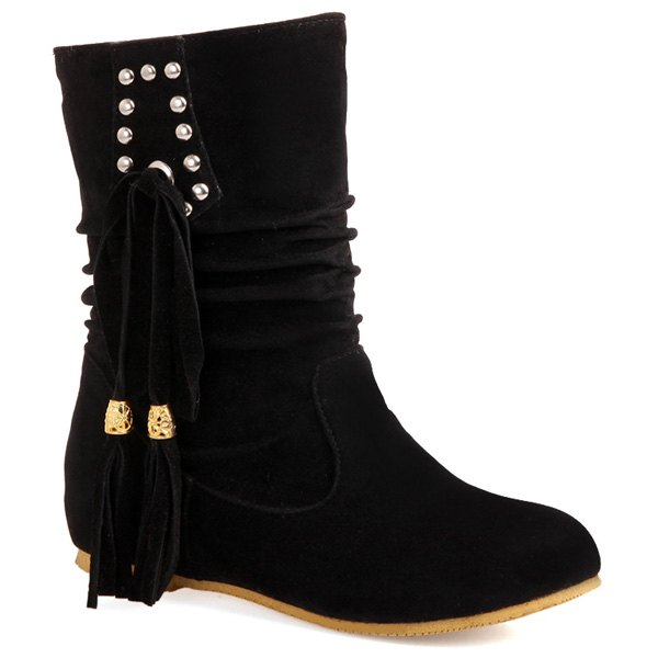 Ruched Rivet Tassel Short Boots - BLACK 40
