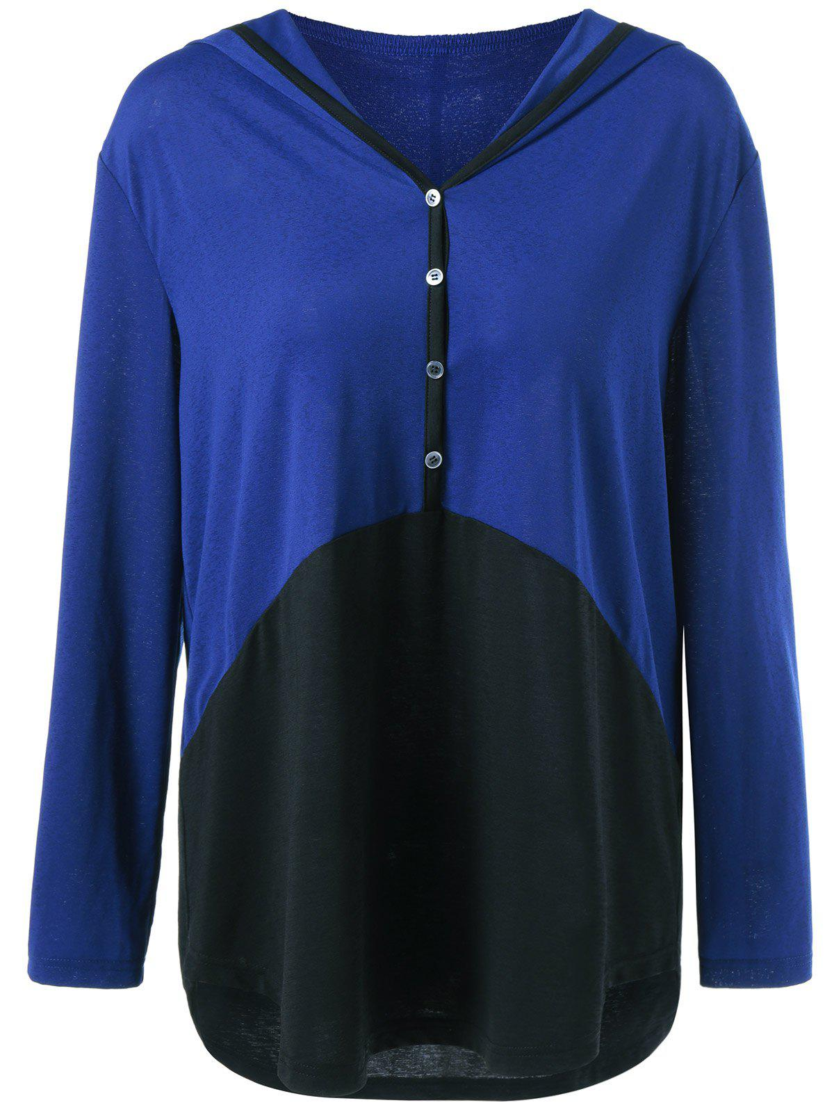 Plus Size Single Breasted High Low Hoodie - BLUE/BLACK XL
