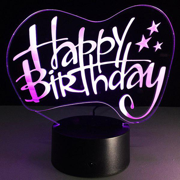 Festival 3D Happy Birthday Board Shape Touch Colorful Night LightHome<br><br><br>Color: TRANSPARENT