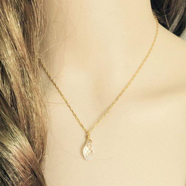 Delicate Faux Crystal Waterdrop Women's Pendant Necklace - GOLDEN