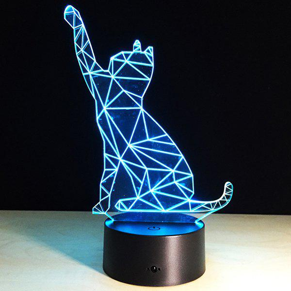 Festival 3D Beckon Cat Shape Touch Colorful Night Light - TRANSPARENT