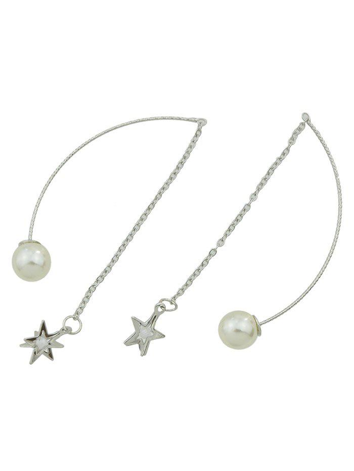 Faux Pearl Star Chain EarringsJewelry<br><br><br>Color: SILVER