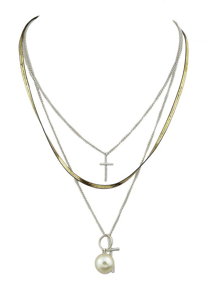 Faux Pearl Cross Layered Pendant Necklace faux pearl cross layered pendant necklace