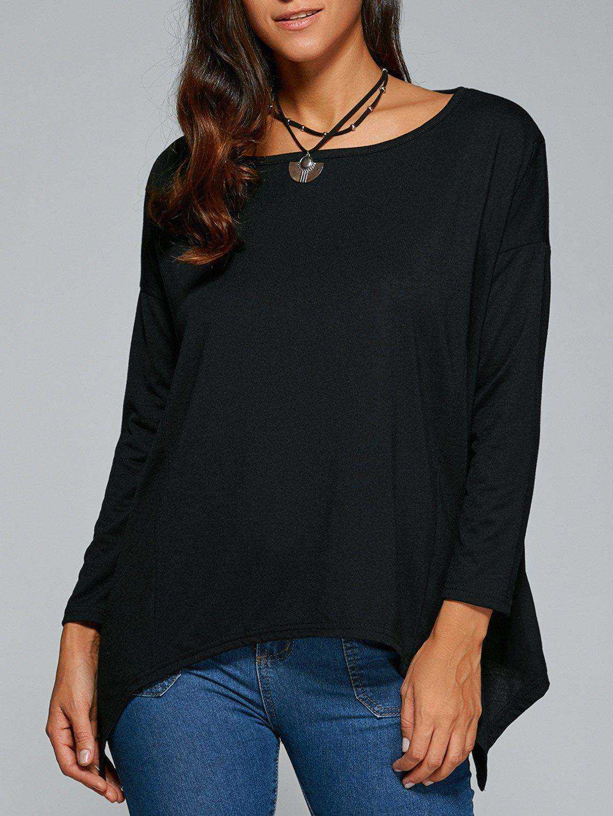 Hankerchief Hem Long Sleeves Casual Top - BLACK M