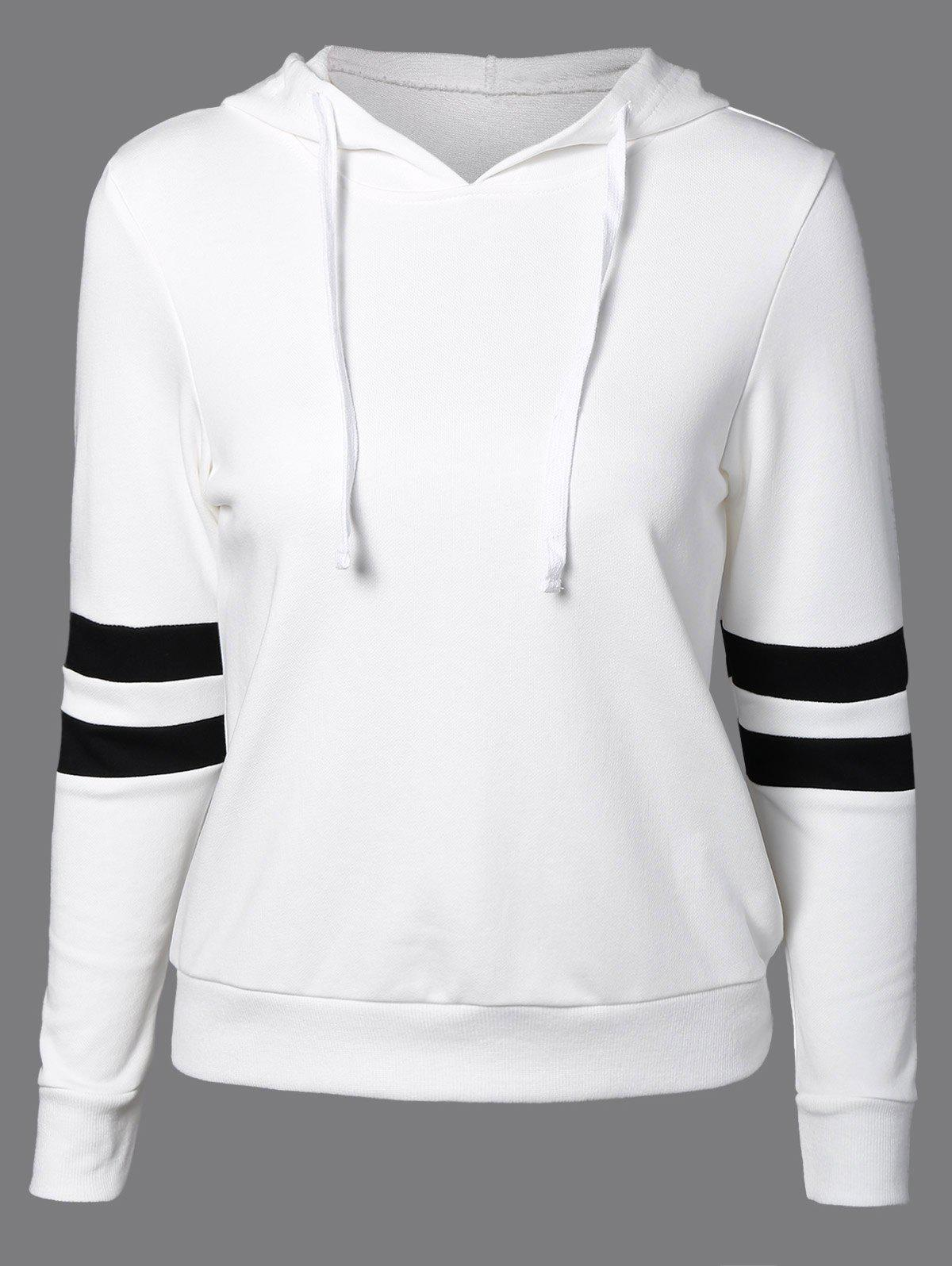 Long Sleeve Sports Color Block Hoodie - WHITE XL