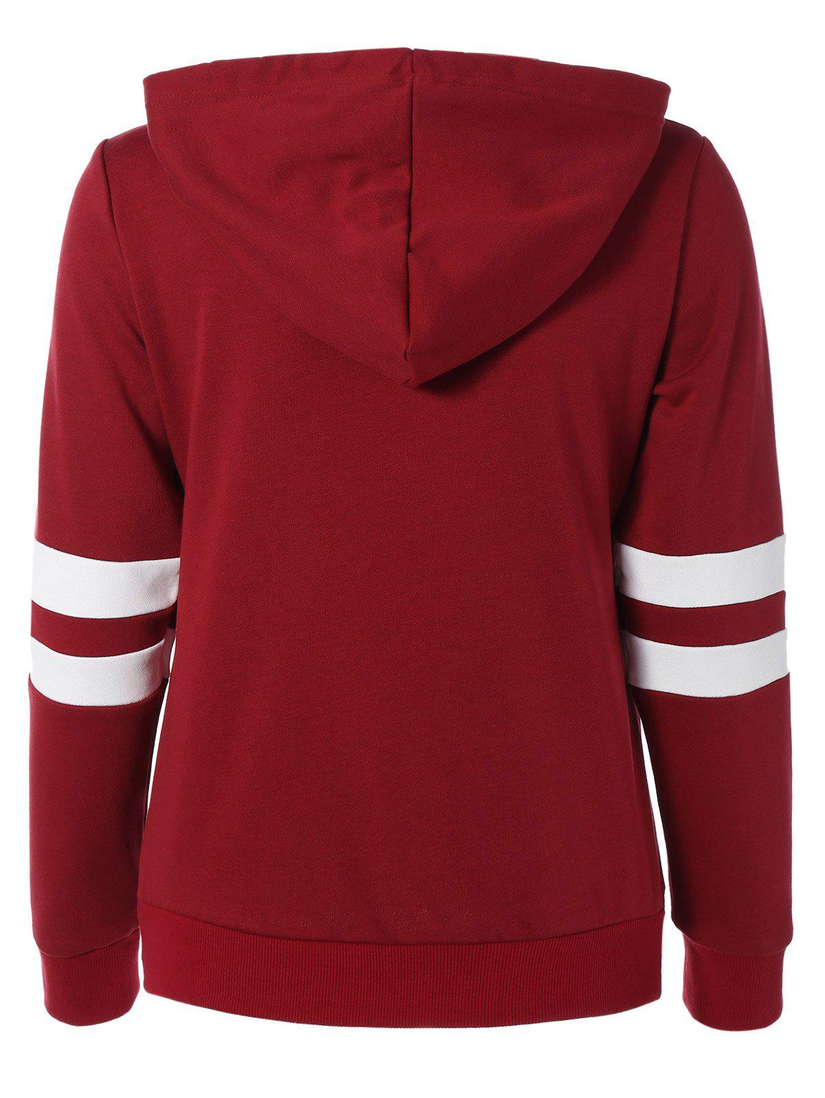 Long Sleeve Sports Color Block Hoodie - RED S