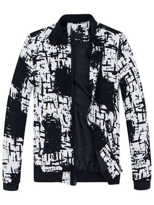 Stand Collar All-Over Abstract Printed Jacket