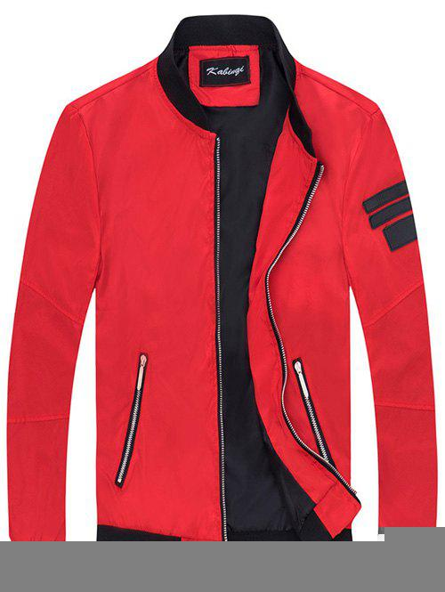 Stand Collar Patch Design Sleeve Zipper Pocket Jacket - RED L