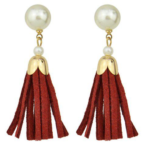 Faux Leather Pearl Tassel Earrings - RED
