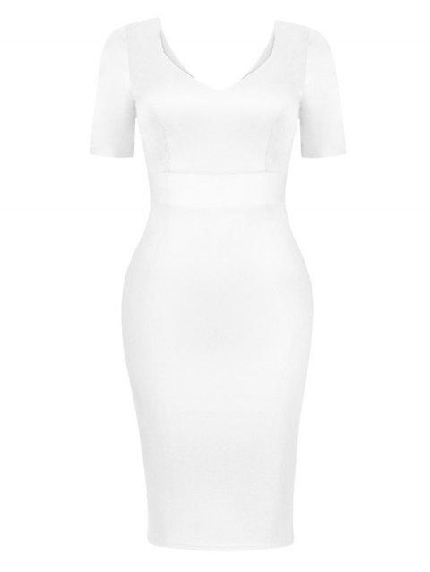 Mesh See Through Dress Tight - Blanc S
