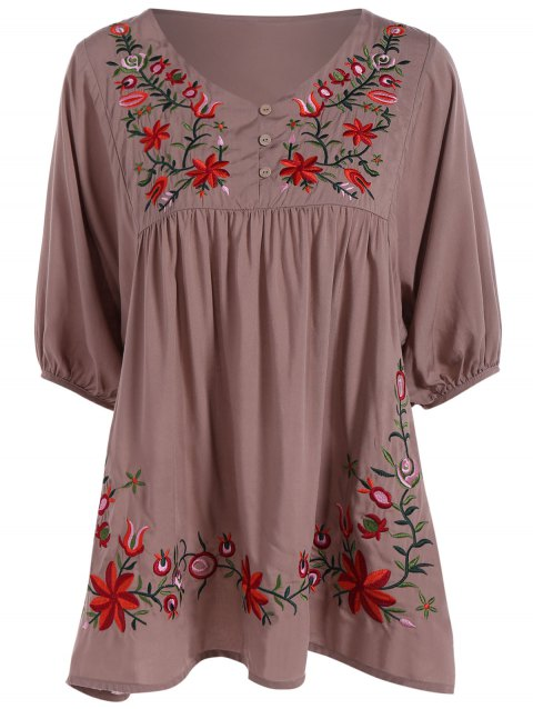 Robe grande taille brodée avec manches 1/2 - Bis 2XL