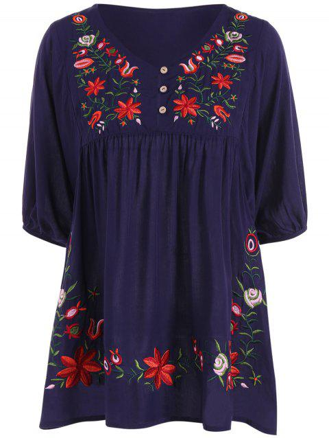 Plus Size Embroidered Dress - PURPLISH BLUE XL