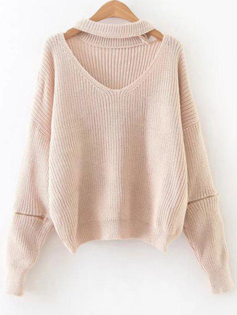 Cut Out Zipper Sleeve Choker Sweater - PINKBEIGE ONE SIZE
