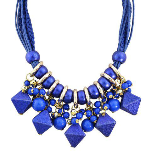 Faux Leather Braid Beads Geometric Necklace - BLUE