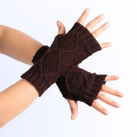 Rhombus Line Embelished Knit Fingerless Gloves - COFFEE