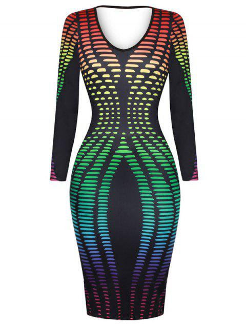 Colorful Dot Print Plunge Bodycon Dress - GREEN M