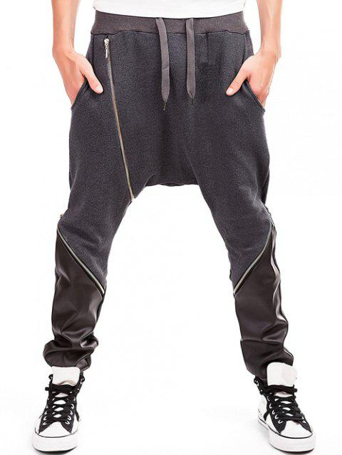 PU Spliced Zipper Embellished Harem Pants - DEEP GRAY M