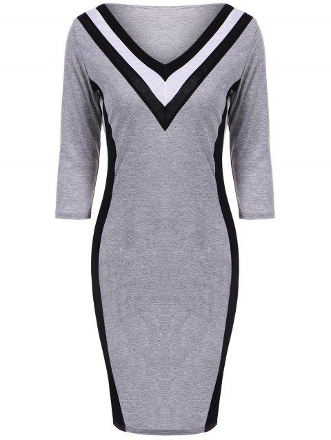 Striped V-Neck Bodycon Dress - GRAY XL