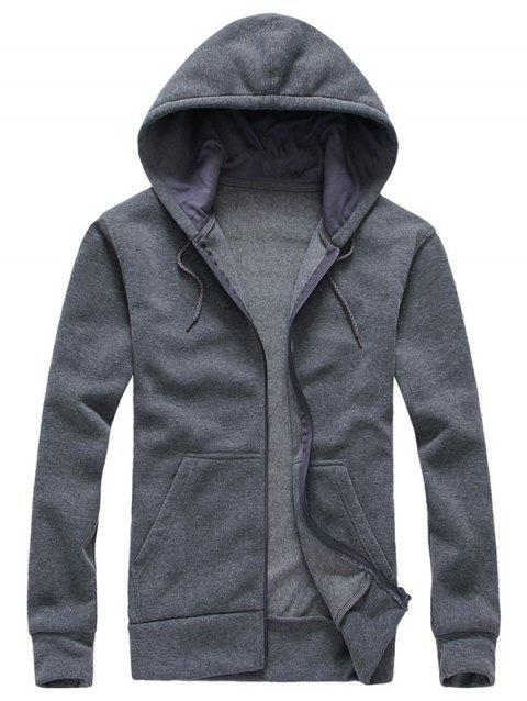 Drawstring Zip Up Plain Hoodie - GRAY XL