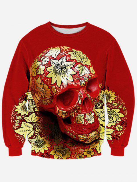 Long Sleeve Floral Skull 3D Print Crew Neck Sweatshirt - RED S