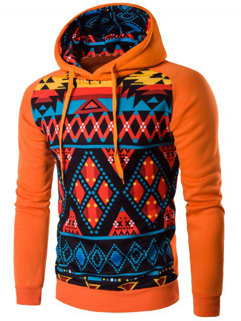 Cartoon Geometric Long Sleeve Hoodie - SWEET ORANGE L