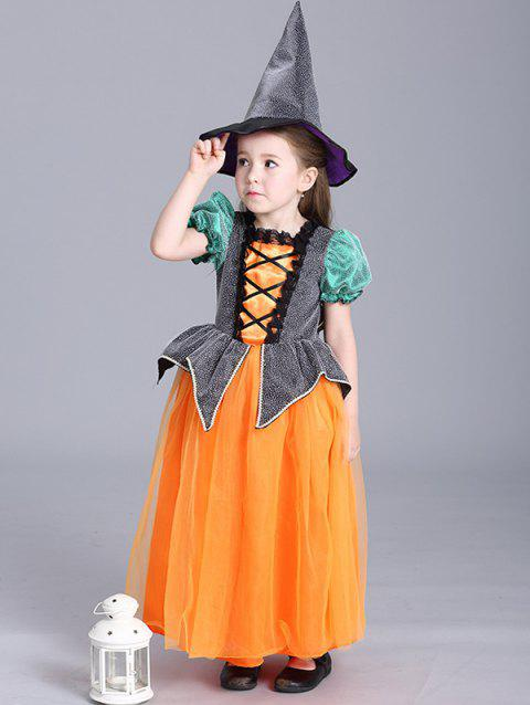 Halloween Noël d'enfants Princesse Maxi Dress Pumpkin Dress - Douce Orange 130