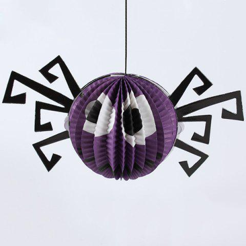 Halloween Party Supplies Paper Spider Hanging Lamp Decoration - PURPLE