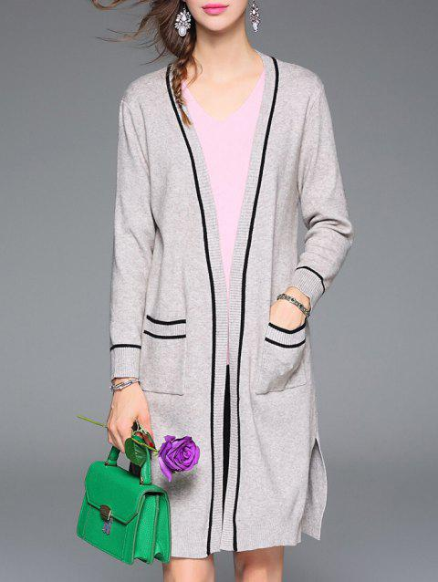 Front Pocket Stripe Slit Woolen Knitted Cardigan - GRAY ONE SIZE