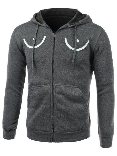 Funny Geometric Print Long Sleeve Fleece Zip-Up Hoodie - DEEP GRAY XL