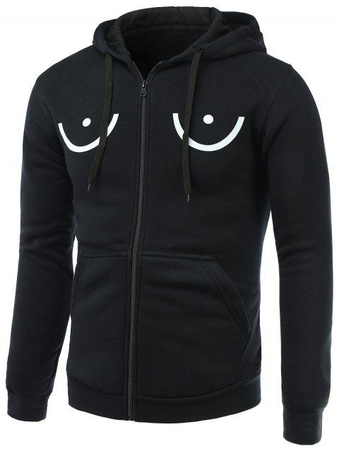 Funny Geometric Print Long Sleeve Fleece Zip-Up Hoodie - BLACK M