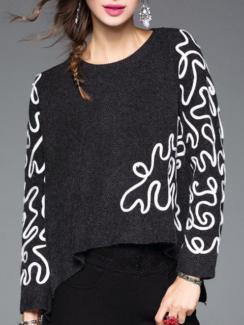 Long Sleeve Asymmetric Woolen Embroidered Sweater - BLACK ONE SIZE