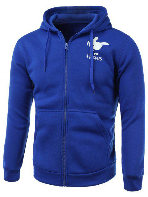 Cartoon Hand Print Long Sleeve Fleece Zip-Up Hoodie - BLUE M