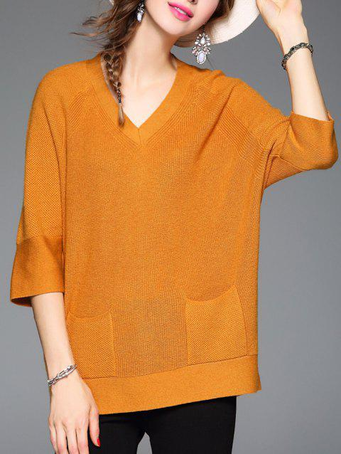 Pocket Loose Woolen Knitwear - SWEET ORANGE ONE SIZE