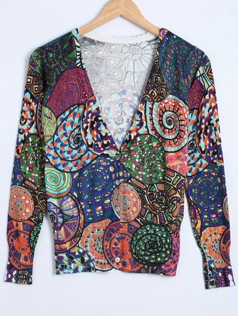 Buttoned Ribbed Printed Cardigan - COLORMIX ONE SIZE