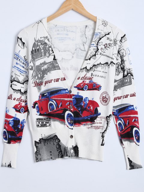 Car Print Knitted Cardigan - WHITE ONE SIZE