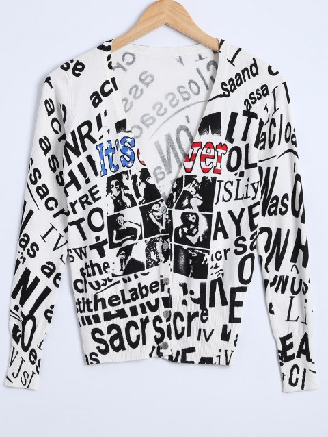 Letter Print Knitted Cardigan - WHITE ONE SIZE