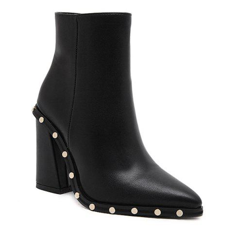 Pointed Toe Chunky Heel Studded Ankle Boots - BLACK 37