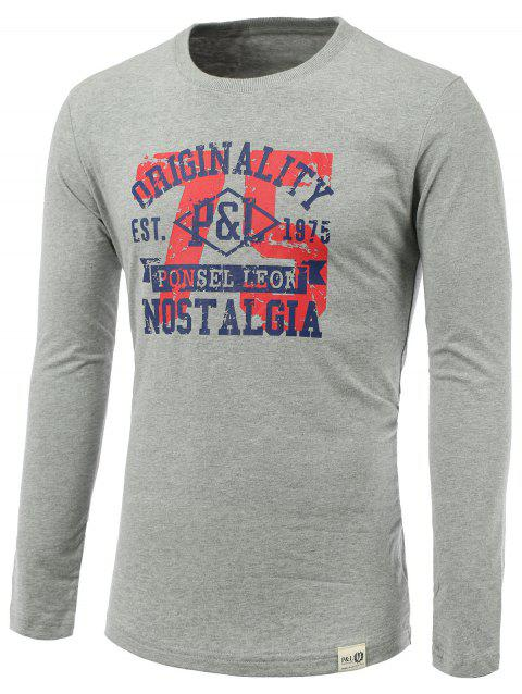 Number and Letters Print Round Neck Long Sleeve T-Shirt - GRAY L