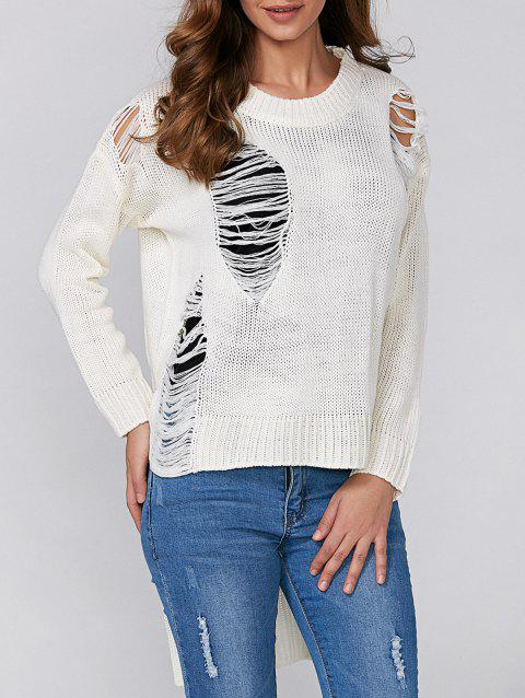 High Low Ripped Pullover Knitwear - WHITE ONE SIZE
