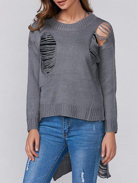 High Low Ripped Pull Tricots - Gris ONE SIZE