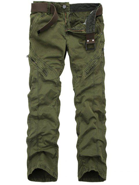 Straight Leg Zippered Mid-Rise Cargo Pants - ARMY GREEN 29