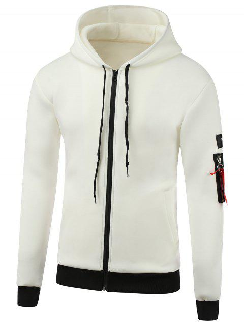 Appliques Cotton Blends Hooded Zip-Up Hoodie - WHITE XL