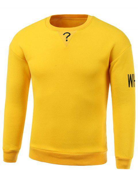 Letters Embroidery Round Neck Long Sleeve Sweatshirt - YELLOW 2XL